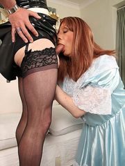 Crossdressers in nylon amateur private pics Luci May and her fellow crossdresser Maid were left to do the cleaning at the Master's house. After dusting each other down kinky Maid Luci got caught with her mouth around a nice big cock