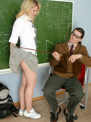 Submissive bisexual transvestite maid photo Usual lesson ends with a warming up pantyhosejob for sizzling hot teacher